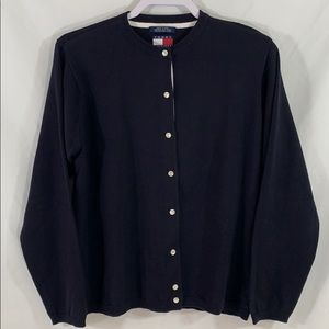 Tommy Hilfiger navy blue cardigan sweater sz L